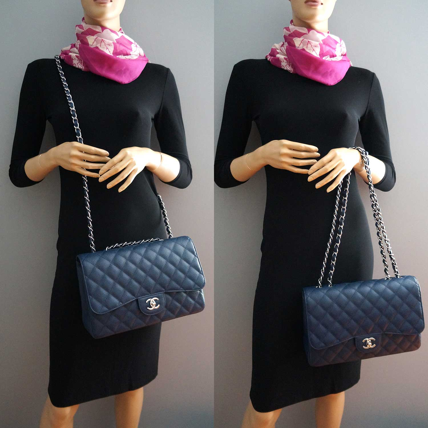 e722dfa5af Chanel Navy Blue Caviar Leather Classic Jumbo Single Flap Bag | | My ...