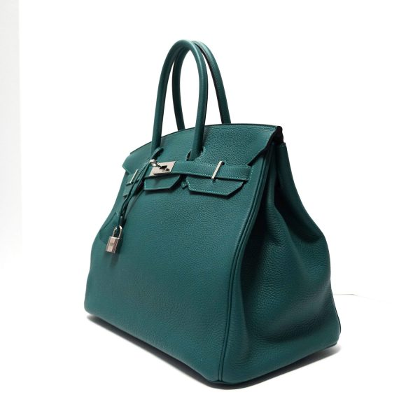 Hermes Togo 35cm Birkin Bag Malachite Leather 2015