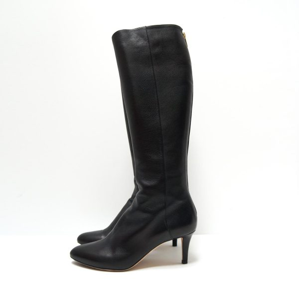 Jimmy Choo Black Leather Knee High 65 Boots Size 37