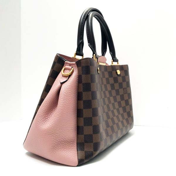 Louis Vuitton Brittany Ebene Damier Canvas Magnolia Leather Bag