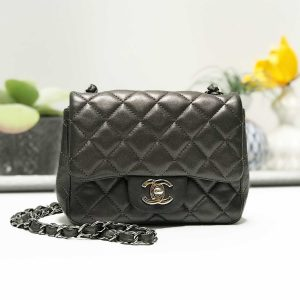 Chanel Charcoal Grey Lambkin Leather Classic Square Mini Crossbody Flap Bag
