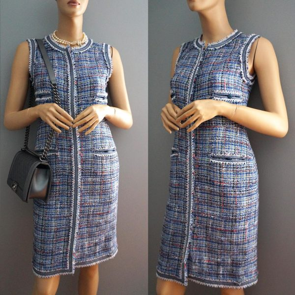 Chanel 09P Sleeveless Blue Multi Tweed Zip Front Dress 38