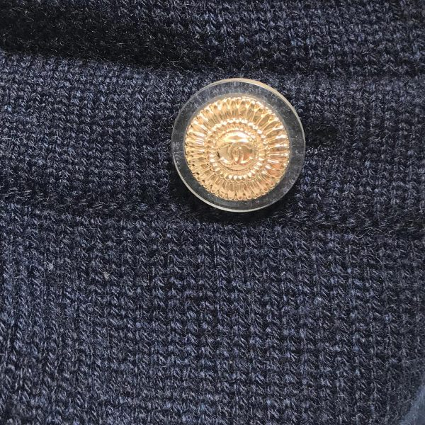 Chanel 09A Navy Cashmere Short Sleeve Dress with Clover Badge