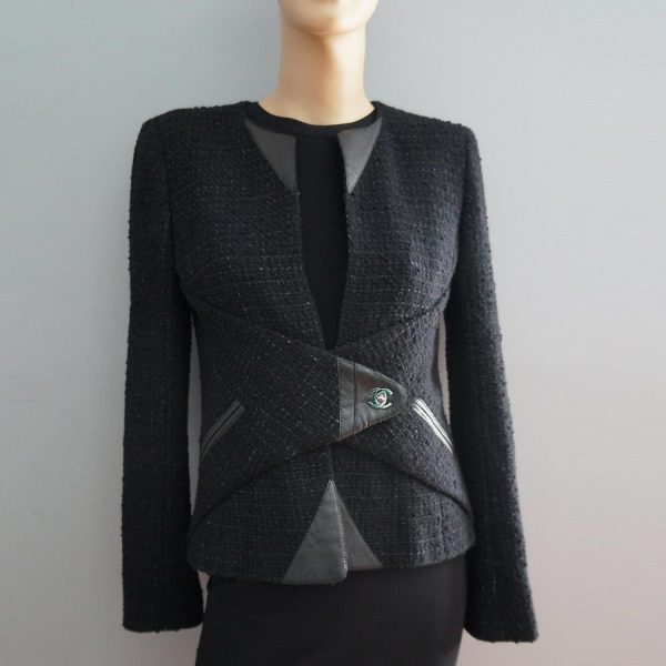 Chanel 10A Black Tweed with Leather Trim Jacket 38