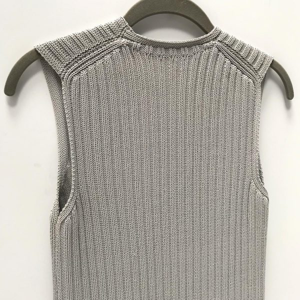 Chanel Greige Sleeveless Knit Top Sweater Vest Tunic 36