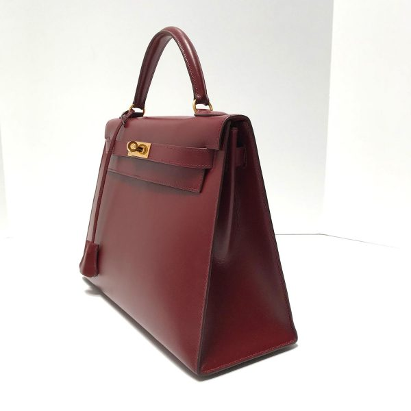 Hermes Vintage Kelly 35 Sellier Rouge Box Leather Bag with Gold Hardware