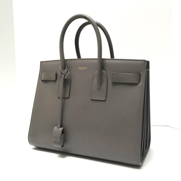 Saint Laurent Grey Leather Small Sac De Jour