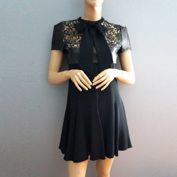 Saint Laurent Black Leather and Lace Dress 38
