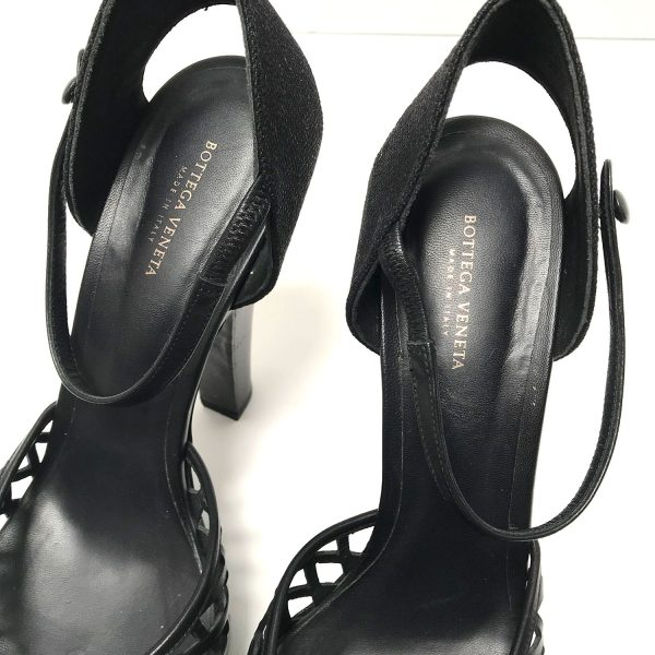 Bottega Veneta Black Leather Linen Cage Platform Heeled Sandals 40.5