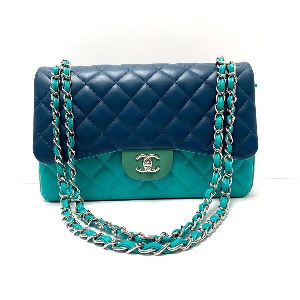 Chanel 2017 Tricolor Leather Classic Jumbo Flap Bag