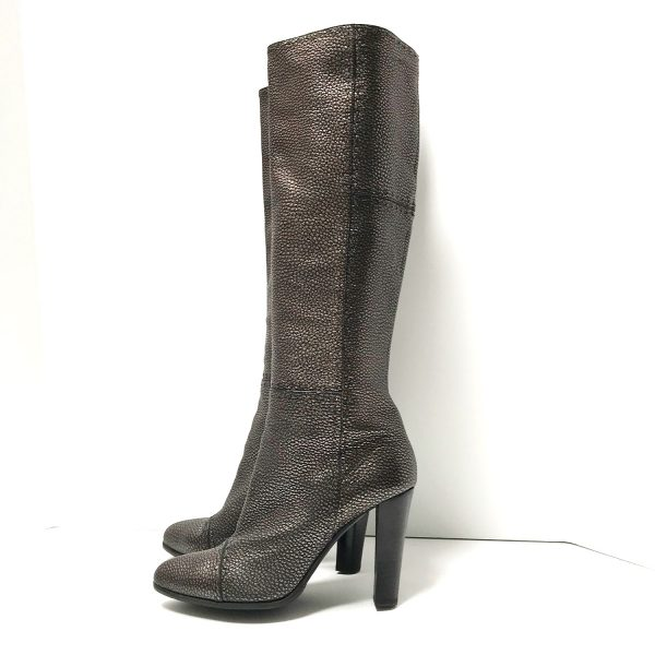 Fendi Selleria Black Gold Metallic Pebbled Leather Knee High Heeled Boots 39.5