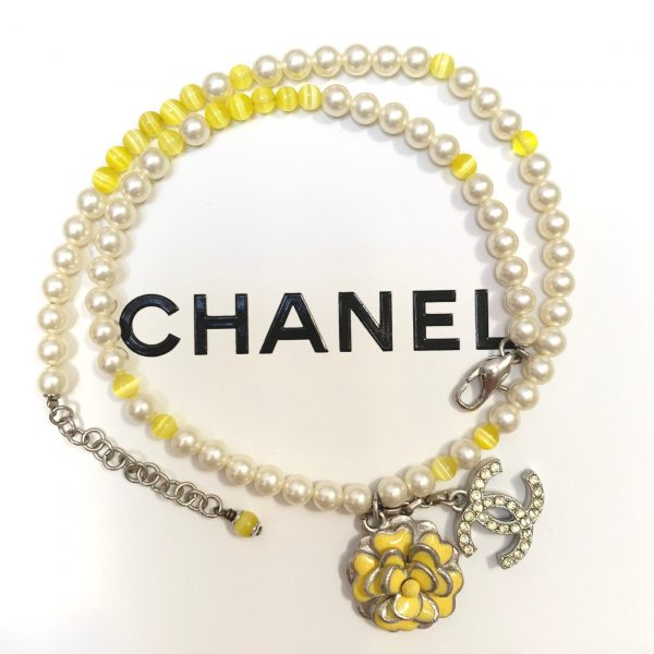 Chanel Pearl Beaded Camellia CC Choker Necklace