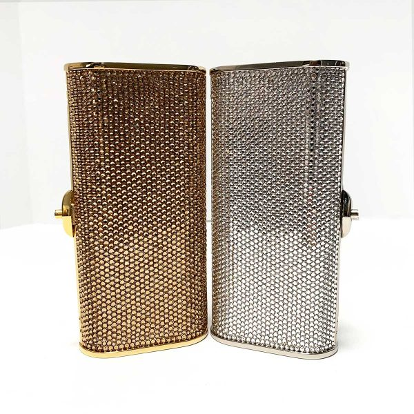 Judith Leiber Swarovski Crystal Gold and Silver Clutch Evening Bags