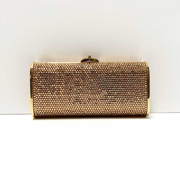 Judith Leiber Swarovski Crystal Gold Clutch Crossbody Evening Bag