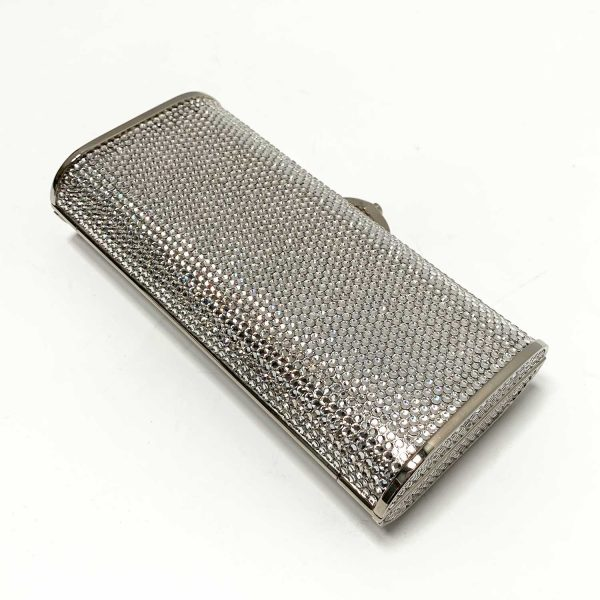 Judith Leiber Silver Swarovski Crystal Clutch Crossbody Evening Bag