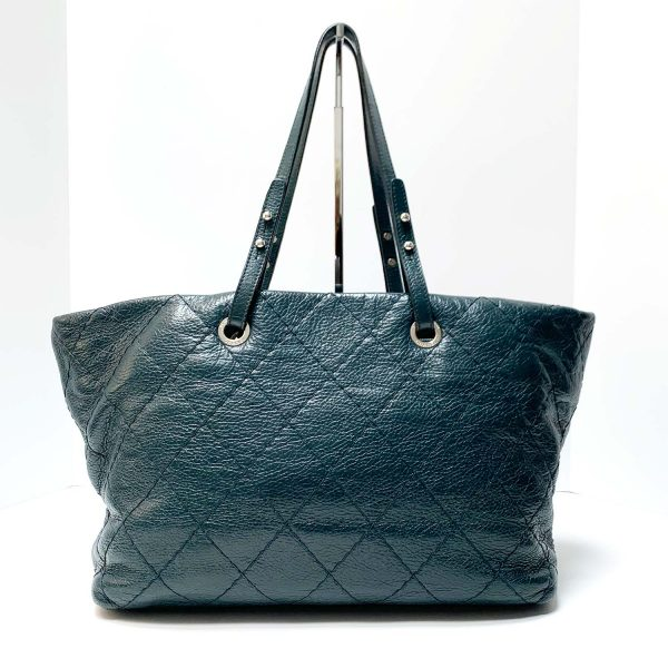 Chanel On the Road Teal Leather Silver Hardware Grand Shopper Tote Bag