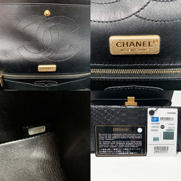 Chanel 2.55 Reissue Black Python Leather Medium 255 Size Flap Bag