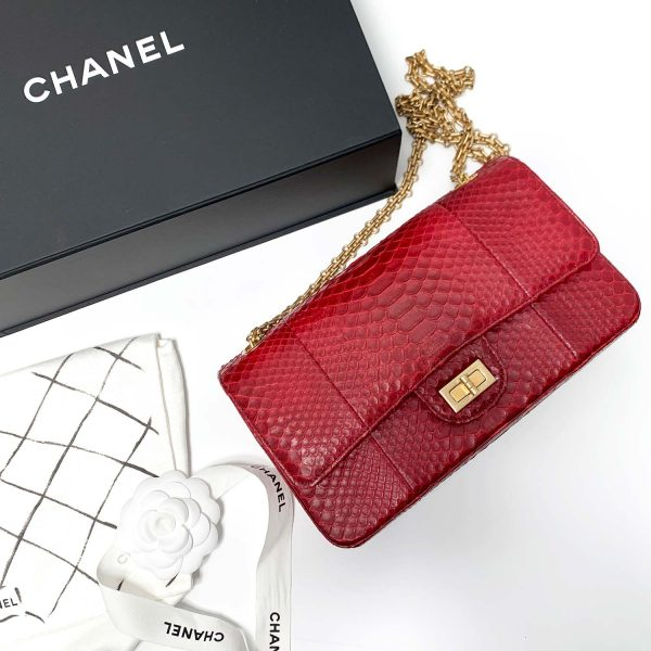 Chanel 2.55 Reissue Red Python Leather Medium 255 Size Flap Bag