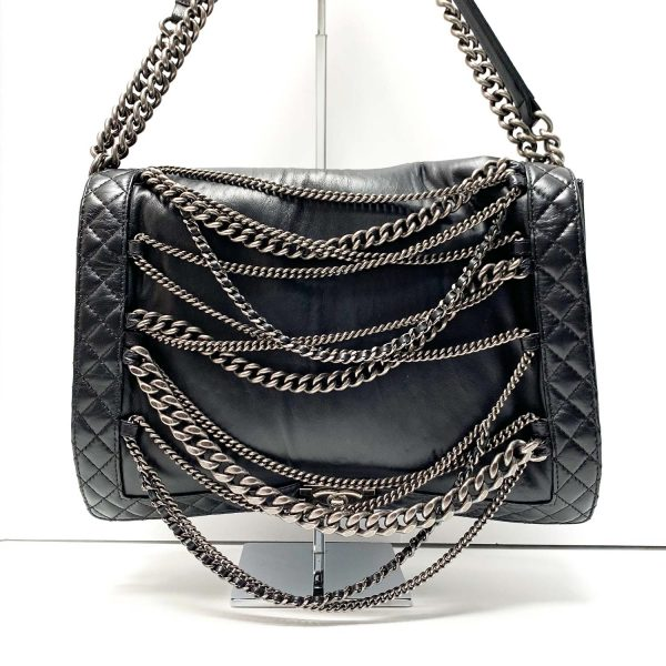 Chanel Enchained Boy XL Black Leather Flap Bag