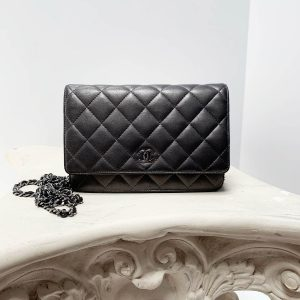 Chanel Wallet-on-Chain WOC Metallic Grey Leather Crossbody Flap Bag