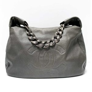 Chanel Caviar 31 Dark Grey Leather Chunky Chain Handle Hobo Bag