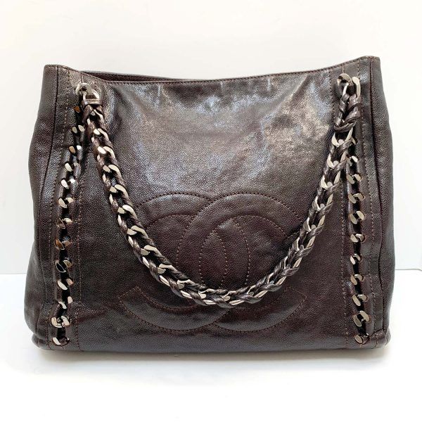 Chanel Modern Chain Brown Glazed Leather Medium Tote Bag
