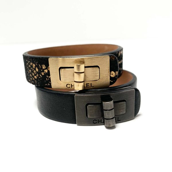 Chanel 10A Reissue Turn Lock Gold Black Leather Cuff Bracelet