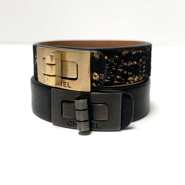 Chanel 10A Reissue Turn Lock Black Leather Cuff Bracelet