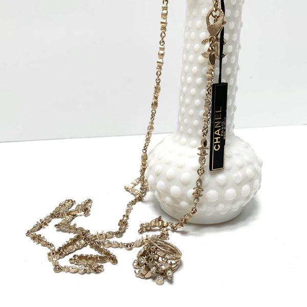 """Chanel Twilight Collection Gold Tone 40"""" Necklace and Statement Ring Set"""