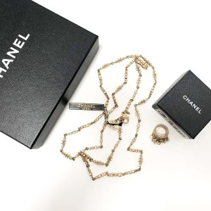 "Chanel Twilight Collection Gold Tone 40"" Necklace and Statement Ring Set"