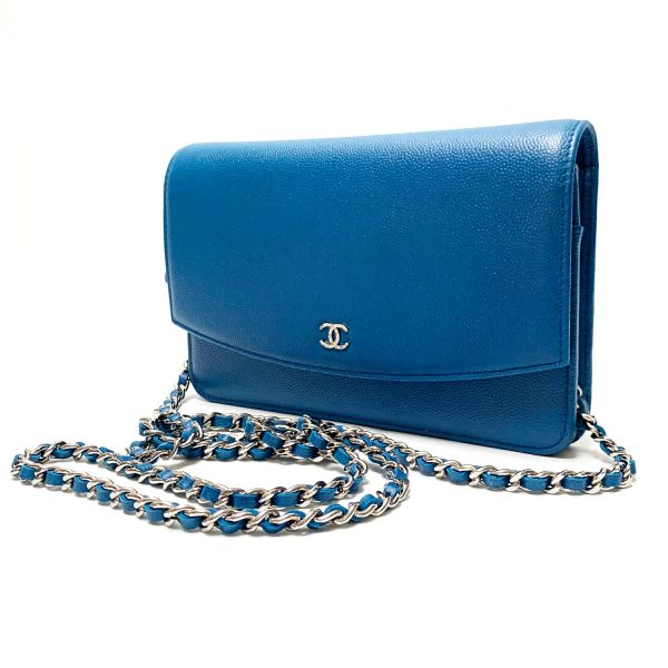 Chanel Blue Grained Leather Wallet-on-a-Chain WOC Crossbody Bag