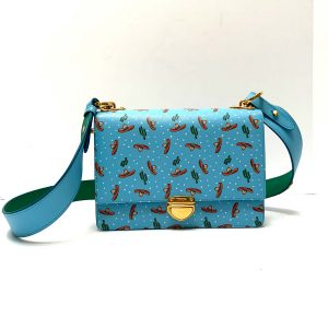 Prada Sky Blue Sombrero Cactus Print Crossbody Shoulder Bag