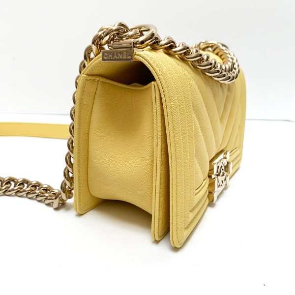 Chanel Small Boy Chevron Quilted 19S Yellow Grained Calfskin Handbag