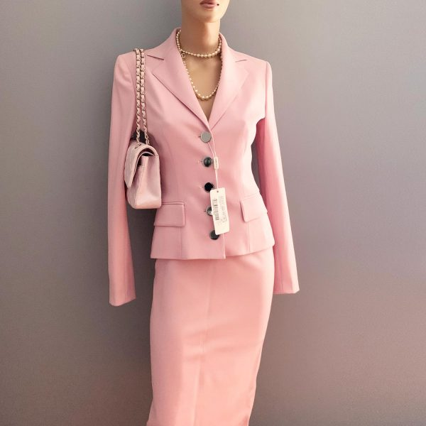 Dolce Gabbana Pink Wool Suit with Chanel Pink Flap Bag