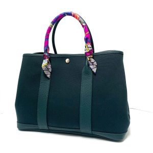 Hermes Teal Canvas Leather Garden Party Tote with Twilly