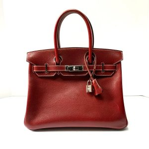 HERMES Birkin 30cm Rouge Veau Grain Lisse Leather Tote Bag