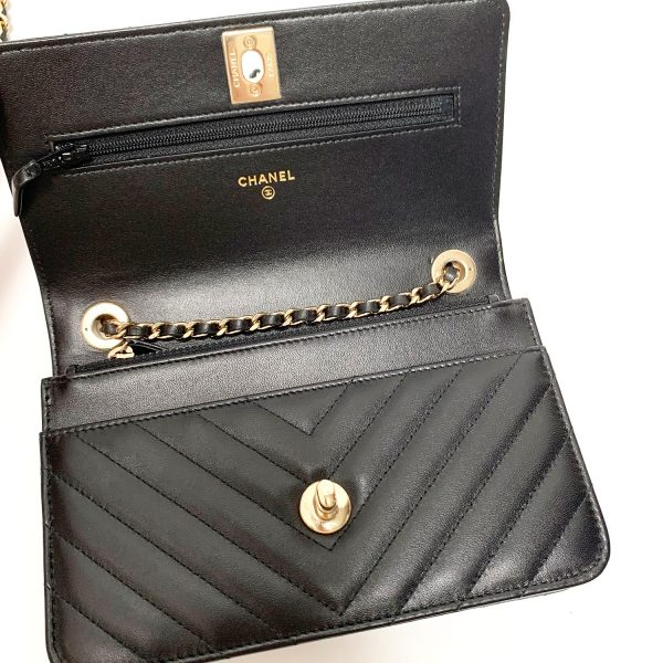 Chanel Chevron Trendy CC WOC Black Leather Bag