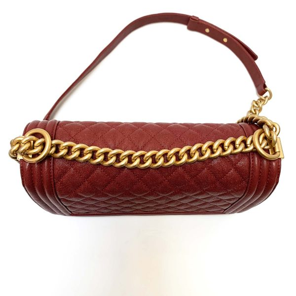 Chanel Medium Boy Shoulder Bag in Burgundy Grained Calfskin Leather with Distressed Gold Hardware