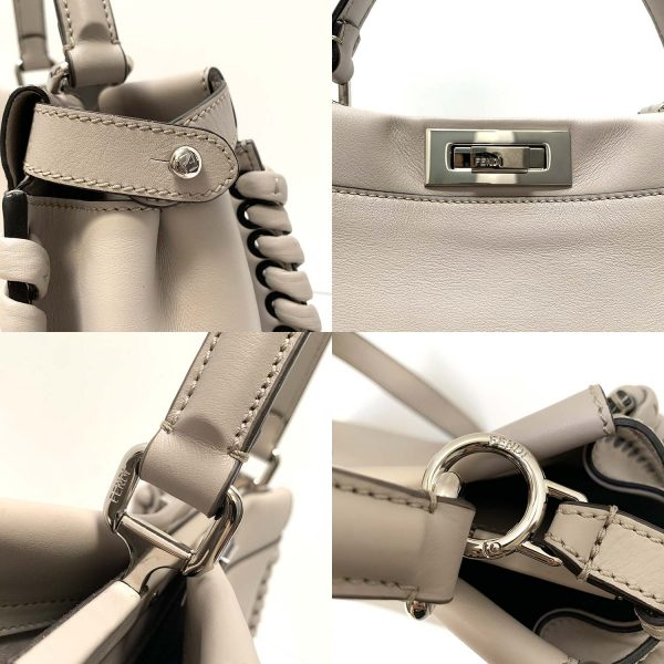 FENDI Whipstitch Peekaboo Grey Powder Leather Bag