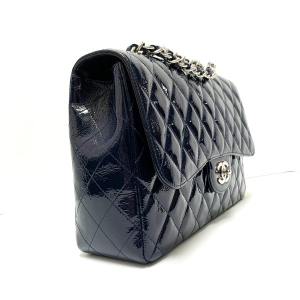 Chanel Navy Patent Leather Jumbo Classic Flap Bag with Silver Hardware