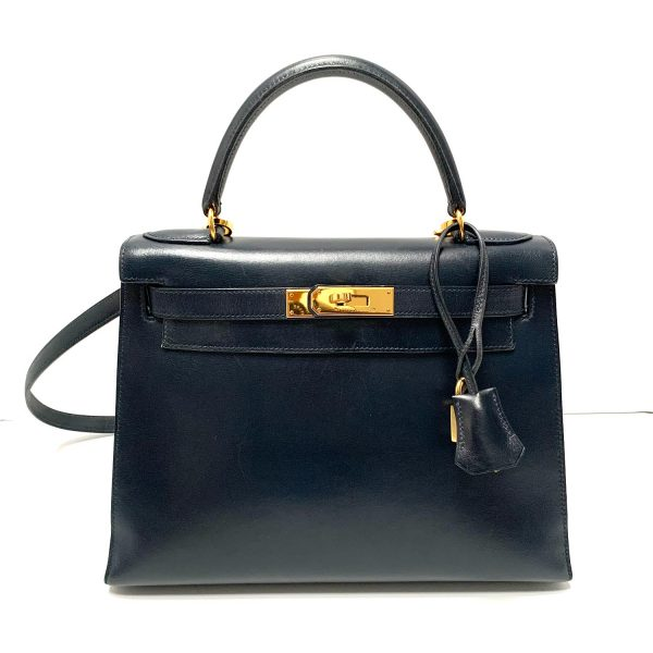 HERMES Vintage Kelly 28 Sellier Navy Box Leather Bag