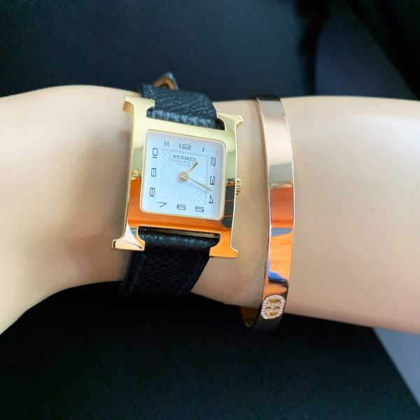 Hermes H Watch and Hermes Bangle Bracelet