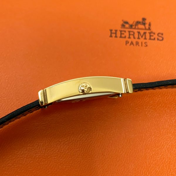 HERMES Heure H Watch 21 x 21 mm Black Epsom Leather Band