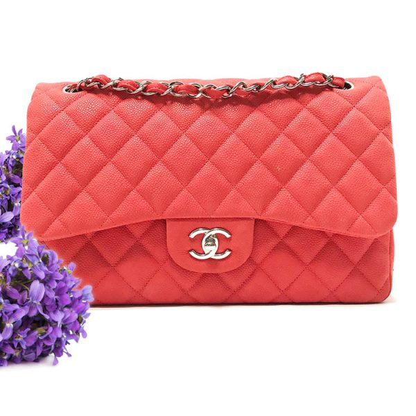 Chanel Jumbo Flap Bag in Coral Caviar Leather