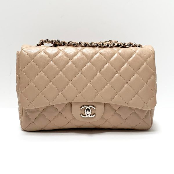 Chanel Jumbo Light Beige Caviar Leather Silver Hardware Flap Bag