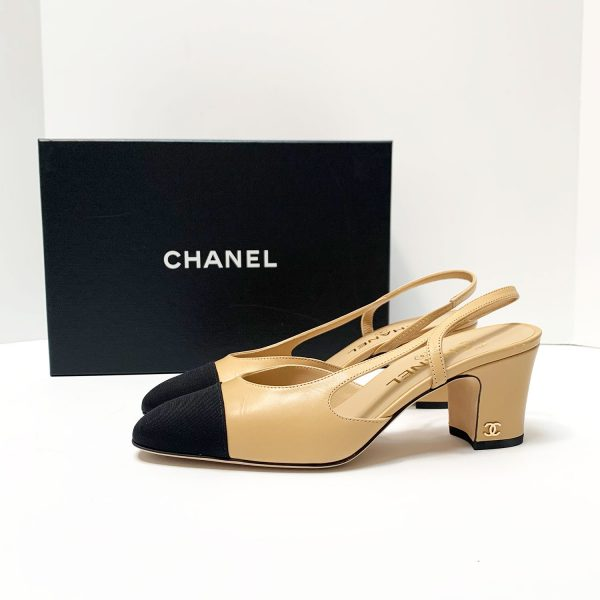 Chanel Classic Slingback Pumps Beige Leather with Black Grosgrain Toe