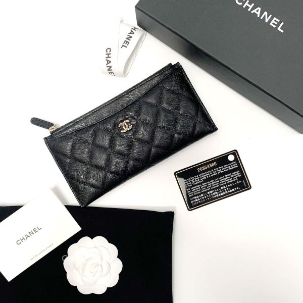 chanel caviar leather phone case wallet