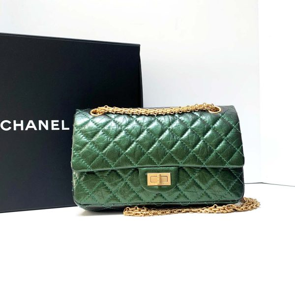 Chanel Reissue 225 Flap Bag Aged Iridescent Green Leather Bag