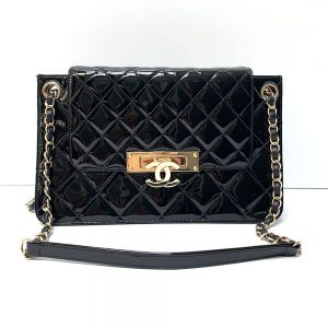 Chanel Quilted Black Patent Leather Golden Class Accordion Flap Bag