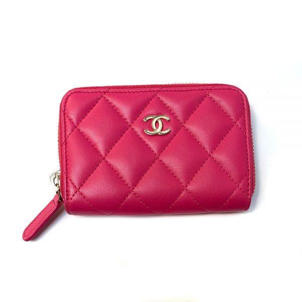 Chanel Fuchsia Leather Classic Zipped Coin Purse
